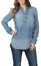 Rock & Roll Cowgirl Women's Denim Button Tunic Long Sleeve Fashion Top