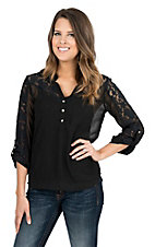 Rock & Roll Cowgirl Women's Black with Lace Yokes and Lace Accents 3/4 Sleeve Fashion Top