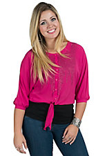 Rock & Roll Cowgirl Women's Pink Dolman Sleeve Lace Back Top