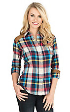 Rock & Roll Cowgirl Women's Navy, Red, Turquoise, Yellow, and White Plaid Long Sleeve Twill Western Snap Shirt