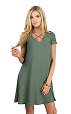 Derek Heart Women's Olive Short Sleeve Dress