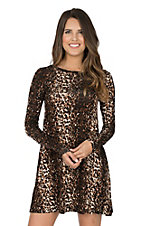 Derek Heart Women's Leopard Print Long Sleeve Dress