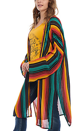 Rock & Roll Cowgirl Women's Serape Stripe Long Sleeve Duster