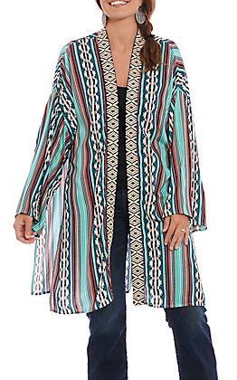 Rock & Roll Cowgirl Women's Aztec Print Long Sleeve Kimono