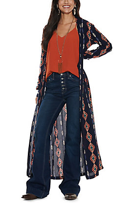Rock & Roll Cowgirl Women's Navy with Coral Aztec Print Long Sleeve Duster Coverup