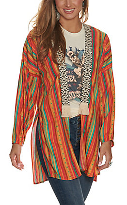 Rock and Roll Cowgirl Orange Aztec Print with Black and White Embroidered Tassel Trim Kimono