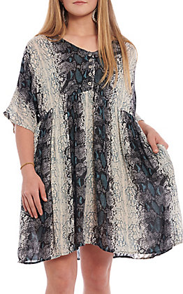 Angie Women's Snakeskin Short Sleeve Baby Doll Dress