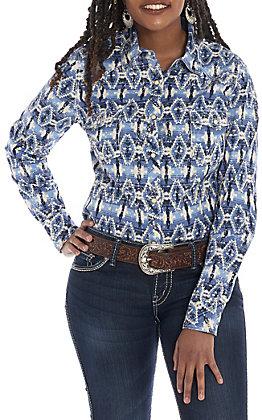 Rock & Roll Cowgirl Women's Blue Aztec Print Long Sleeve Western Shirt
