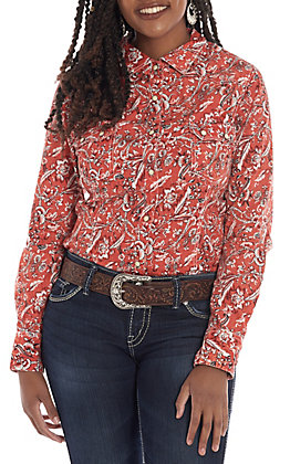 Rock & Roll Cowgirl Women's Red Floral Paisley Print Long Sleeve Western Shirt