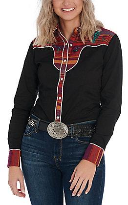 Rock & Roll Cowgirl Women's Black Retro Serape Long Sleeve Western Shirt