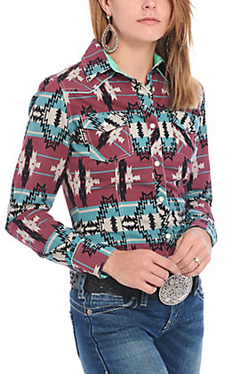 Rock & Roll Cowgirl Women's Aztec Print Long Sleeve Western Shirt