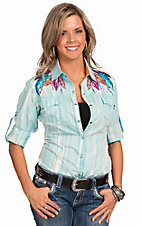 Rock & Roll Cowgirl Women's Turquoise Stripe Wash with Feather Embroidery Long Tab Sleeve Western Shirt