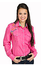 Rock & Roll Cowgirl Brushed Pink with Turquoise and Orange Embroidery Long Sleeve Western Shirt