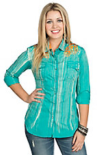 Rock and Roll Cowgirl Women's Distressed Turquoise with Orange Embroidery Western Shirt