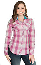 Rock and Roll Cowgirl Women's Pink Plaid with Aztec Embroidered