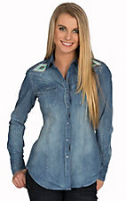 Rock & Roll Cowgirl Women's Vintage Stone Wash Denim with Aztec Embroidery L/S Western Shirt