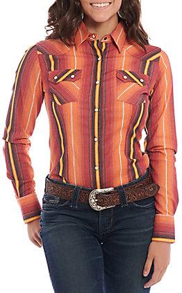 Rock &  Roll Cowgirl Women's Orange Serape Striped Long Sleeve Western Shirt