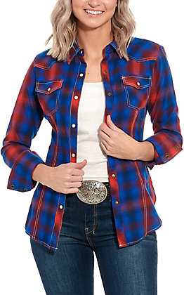 Rock & Roll Cowgirl Red & Blue Plaid Long Sleeve Western Shirt