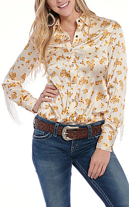 Rock & Roll Cowgirl Women's Cream Floral Print Fringe Satin Western Shirt