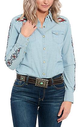 Rock & Roll Cowgirl Light Denim Aztec Embroidered Long Sleeve Western Shirt
