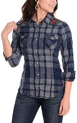 Rock & Roll Cowgirl Women's Chambray Plaid with Floral Embroidery Western Shirt