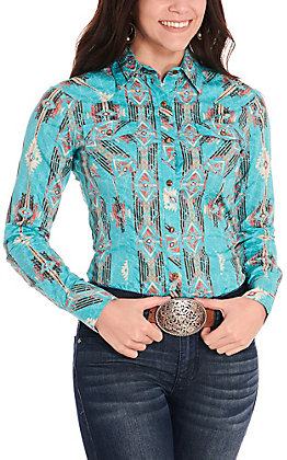 Rock & Roll Cowgirl Women's Turquoise with Aztec Print Western Shirt