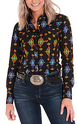 Rock & Roll Cowgirl Women's Black with Aztec Print Western Shirt