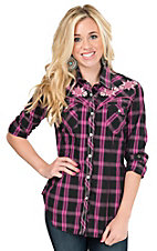 Rock & Roll Cowgirl Women's Pink & Black Plaid with Aztec Embroidery Long Sleeve Western Shirt