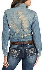 Rock & Roll Cowgirl Denim w/ Headdress Embroidery L/S Western Snap Shirt