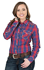 Rock & Roll Cowgirl Women's Red, Purple, Turquoise Plaid With Aztec Embroidery Long Sleeve Western Shirt