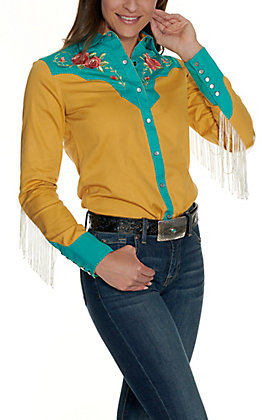 Rock & Roll Cowgirl Women's Yellow and Turquoise with Rose Embroidery and Fringe Long Sleeve Retro Western Shirt