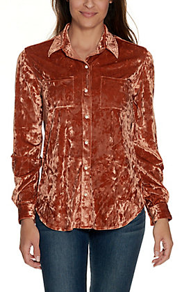 Rock & Roll Cowgirl Women's Copper Crushed Velvet Snap Shirt