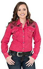 Rock & Roll Cowgirl Women's Red Crinkle Wash With Black Floral Embroidery Long Sleeve Western Shirt