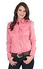 Rock & Roll Cowgirl Women's Pink Distressed with Aztec Embroidery Long Sleeve Western Snap Shirt