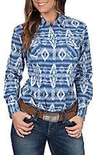 Rock & Roll Cowgirl Women's Aztec Chambray Long Sleeve Western Shirt
