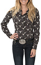 Rock & Roll Cowgirl Women's Long Sleeve Crinkle Wash Steer Print Western Shirt