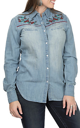 Rock & Roll Cowgirl Denim Floral Embroidered Western Shirt