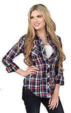Rock & Roll Cowgirl Women's Red, White, and Blue Plaid Long Sleeve Western Snap Shirt