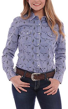 Rock & Roll Cowgirl Blue Cactus & Skull Print Long Sleeve Western Shirt