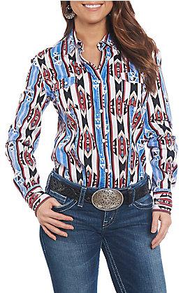 Rock & Roll Cowgirl Women's Aztec Bleach Wash Long Sleeve Western Shirt