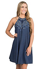 Angie Women's Denim with Blue, Navy, and Silver Embroidery High Neck Tent Style Sleeveless Dress