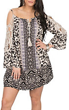 Angie Black and Tan Floral Print with Crochet 3/4 Sleeves Dress