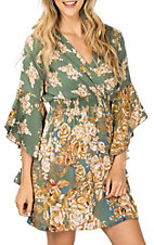Angie Women's Olive Green Floral Ruffle Bell Sleeve Dress