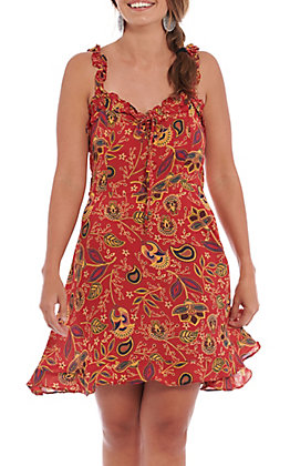 Angie Women's Red Floral Ruffle Tank Dress