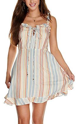 Angie Women's Multi Stripe Tie Up Ruffle Straps Sleeveless Dress