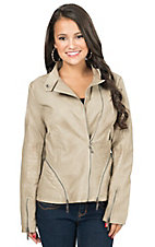 Montanaco Women's Tan Punched Faux Leather Jacket