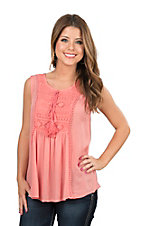 Rock & Roll Cowgirl Women's Coral with Crochet Details Sleeveless Fashion Top