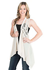 Rock & Roll Cowgirl Cream with Crochet Top Racerback Vest