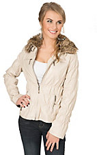 Montanaco Women's Pearl Cream Snake Print with Faux Fur Collar Cinched Jacket
