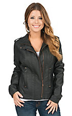 Montana Clothing Co. Women's Black Pleather Bomber Zip Front Jacket
